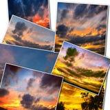 La puesta del sol dramática le gusta el fuego en el cielo con collage de oro de las nubes Imagen de archivo libre de regalías