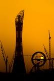 La puesta del sol en aspira Doha Imagenes de archivo