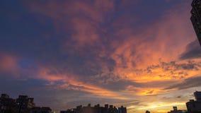 La puesta del sol en el canal de Tainan Foto de archivo