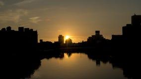 La puesta del sol en el canal de Tainan Foto de archivo libre de regalías