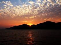 La puesta del sol en Hong Kong Fotografía de archivo libre de regalías