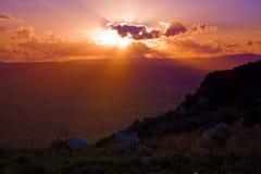 La puesta del sol mágica Foto de archivo