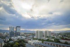La puesta del sol mágica se nubla sobre la ciudad de Pekín de China 3 Imagen de archivo libre de regalías