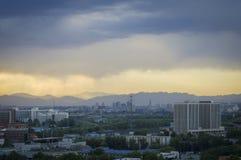 La puesta del sol mágica se nubla sobre la ciudad de Pekín de China 4 Imagen de archivo libre de regalías