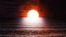 La puesta del sol //1080p del mar estilizó el lazo video meditativo del fondo stock de ilustración