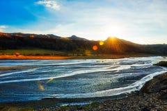 La puesta del sol riveway Foto de archivo libre de regalías