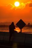 Puesta del sol de la muestra Foto de archivo libre de regalías