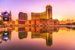 La puesta del sol veneciana de Macao imágenes de archivo libres de regalías