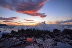 La puesta del sol vista del puerto de ¹ de Cefalà Fotografía de archivo libre de regalías