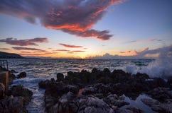 La puesta del sol vista del puerto de ¹ de Cefalà imagen de archivo