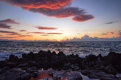 La puesta del sol vista del puerto de ¹ de Cefalà Fotografía de archivo