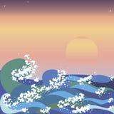 La puesta del sol y el mar agita en estilo japonés Ilustración del Vector