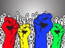 La puissance forte remet la protestation image stock