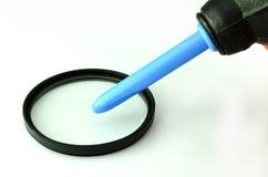 La pulitura len il filtro dal ventilatore nero di gomma della polvere Immagine Stock