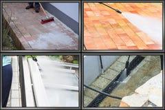 La pulizia ad alta pressione del getto di acqua, schermo è divisa nel secti 4 Fotografia Stock Libera da Diritti