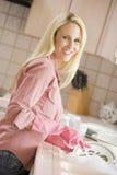 la pulizia servisce la donna fotografie stock libere da diritti