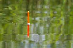 La punta del galleggiante da pesca si siede verticalmente nell'acqua del lago immagini stock