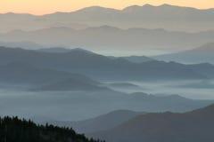 La punta más alta de las capas de la montaña en Tennessee Fotos de archivo libres de regalías