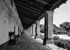 La Purisima Mission. Arcade, or covered walkway, at the La Purisima Mission on Purisima Road in Lompoc, California Royalty Free Stock Images