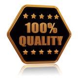 la qualité cinq de 100 pourcentages tiennent le premier rôle le bouton d'hexagone Photos stock