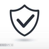 La qualité est icône plate confirmée Bouclier de signe Logo de vecteur pour le web design Images stock