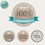 La qualité et la satisfaction garantissent des insignes Image stock
