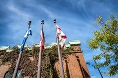 La Quebec Canada e la città delle bandiere di Montreal Fotografie Stock Libere da Diritti