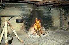 La quema abre una sesión una chimenea abierta Fotografía de archivo
