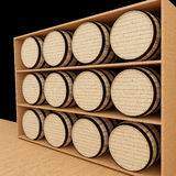 La quercia barrels in deposito di legno nella rappresentazione 3D Fotografie Stock Libere da Diritti