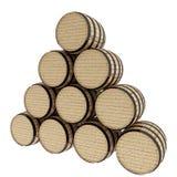 La quercia barrels su bianco isolato nell'illustrazione 3D Immagini Stock Libere da Diritti