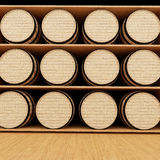 La quercia del vino barrels in deposito nella rappresentazione 3D Immagini Stock