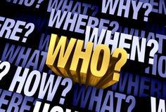 La question importante est 'qui ?' illustration de vecteur