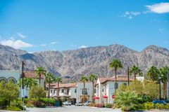 La Quinta Downtown California. Coachella Valley. Old Town La Quinta with Mountain View, United States. La Quinta, Riverside County royalty free stock image