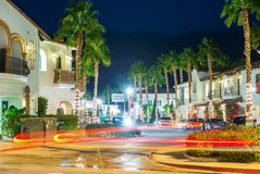 La Quinta Holiday Lights. Downton La Quinta at Night with Blurred Car Lights. California, United States stock photo