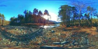 La réalité virtuelle de 360 VR de l'les montagnes, la forêt de pin et la rivière sauvages coule Rayons de parc national, de pré e banque de vidéos