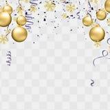 La réception monte en ballon l'illustration Rubans de drapeau de confettis et de rubans, joyeuse affiche de Noël de fête de Noël  illustration stock