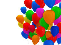 La réception monte en ballon multicolore sur le fond blanc Image stock