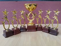 La récompense d'or met en forme de tasse Trophys Photographie stock
