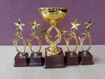 La récompense d'or met en forme de tasse Trophys Image libre de droits