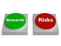 La récompense de risque boutonne des risques ou des récompenses d'expositions Photo stock