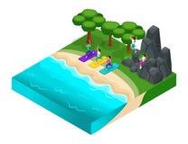 La récréation extérieure d'Isometrics, rocheuse, montagnes, pierres, herbe, paysage, filles s'exercent sur la plage par la mer St illustration de vecteur