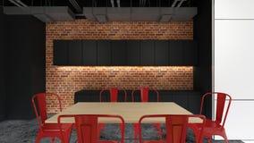La région d'office, 3d rendent la conception intérieure, moquerie vers le haut d'illustration Image stock