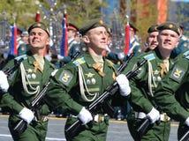 La répétition générale du défilé en l'honneur de Victory Day sur la place rouge sur 7 peut 2017 Académie du Militaire-espace de c Image stock