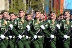 La répétition générale du défilé en l'honneur de Victory Day sur la place rouge sur 7 peut 2017 Académie du Militaire-espace de c Photo stock