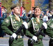 La répétition générale du défilé en l'honneur de Victory Day sur la place rouge sur 7 peut 2017 Académie du Militaire-espace de c Photographie stock