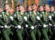 La répétition générale du défilé en l'honneur de Victory Day sur la place rouge sur 7 peut 2017 Académie du Militaire-espace de c Photographie stock libre de droits