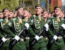 La répétition générale du défilé en l'honneur de Victory Day sur la place rouge sur 7 peut 2017 Académie du Militaire-espace de c Photo libre de droits