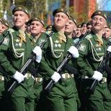 La répétition générale du défilé en l'honneur de Victory Day sur la place rouge sur 7 peut 2017 Académie du Militaire-espace de c Photos libres de droits