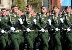 La répétition générale du défilé en l'honneur de Victory Day sur la place rouge sur 7 peut 2017 Académie du Militaire-espace de c Image libre de droits
