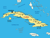 La république de Cuba - carte Photo stock